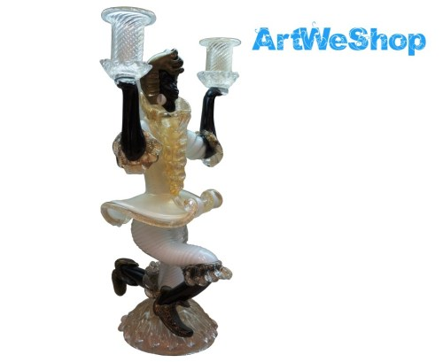 art glass candlestick