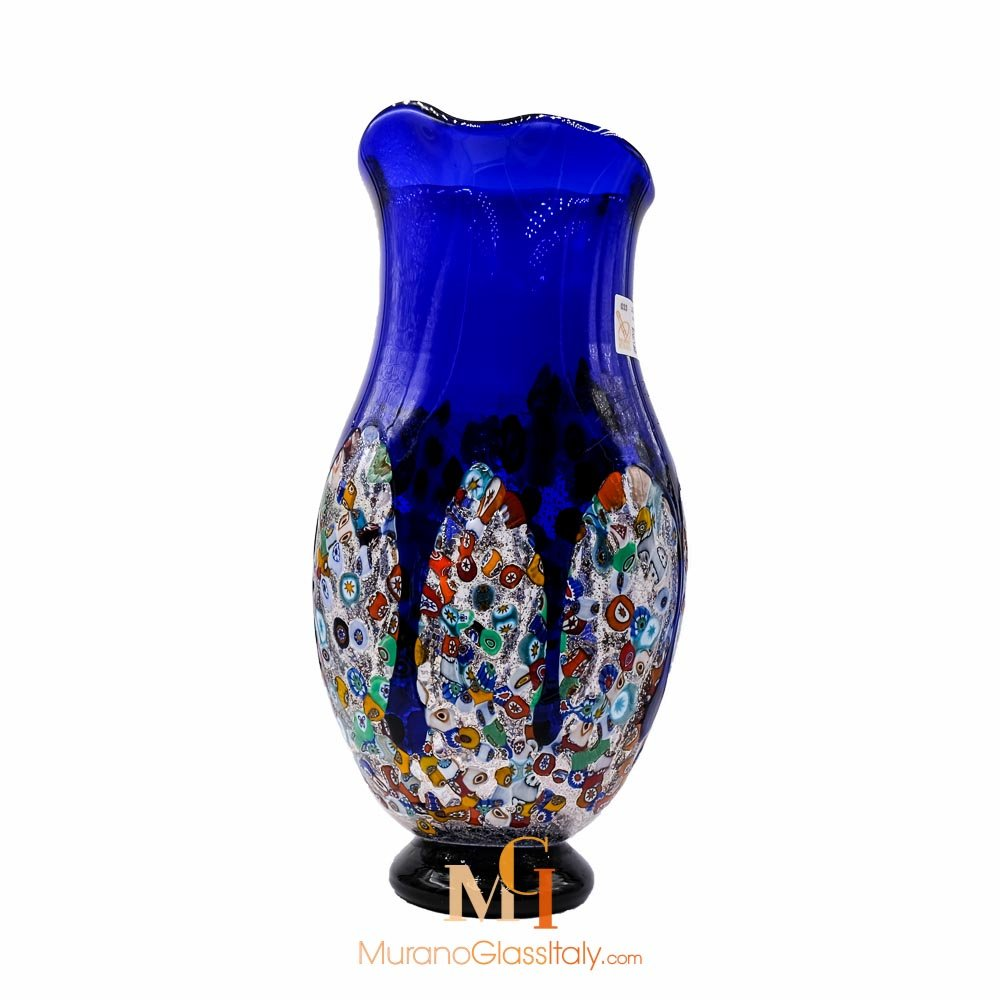 murano glass vase blue