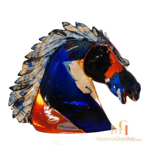 murano glass horse head