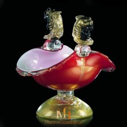 Murano glass bowl red