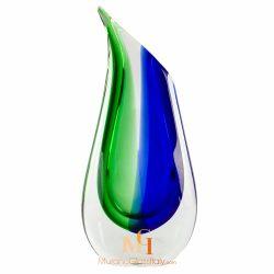 vase verre bleu