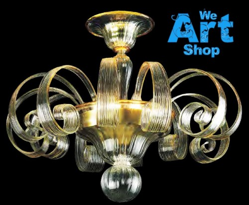 Crystal Amber Glass Chandelier