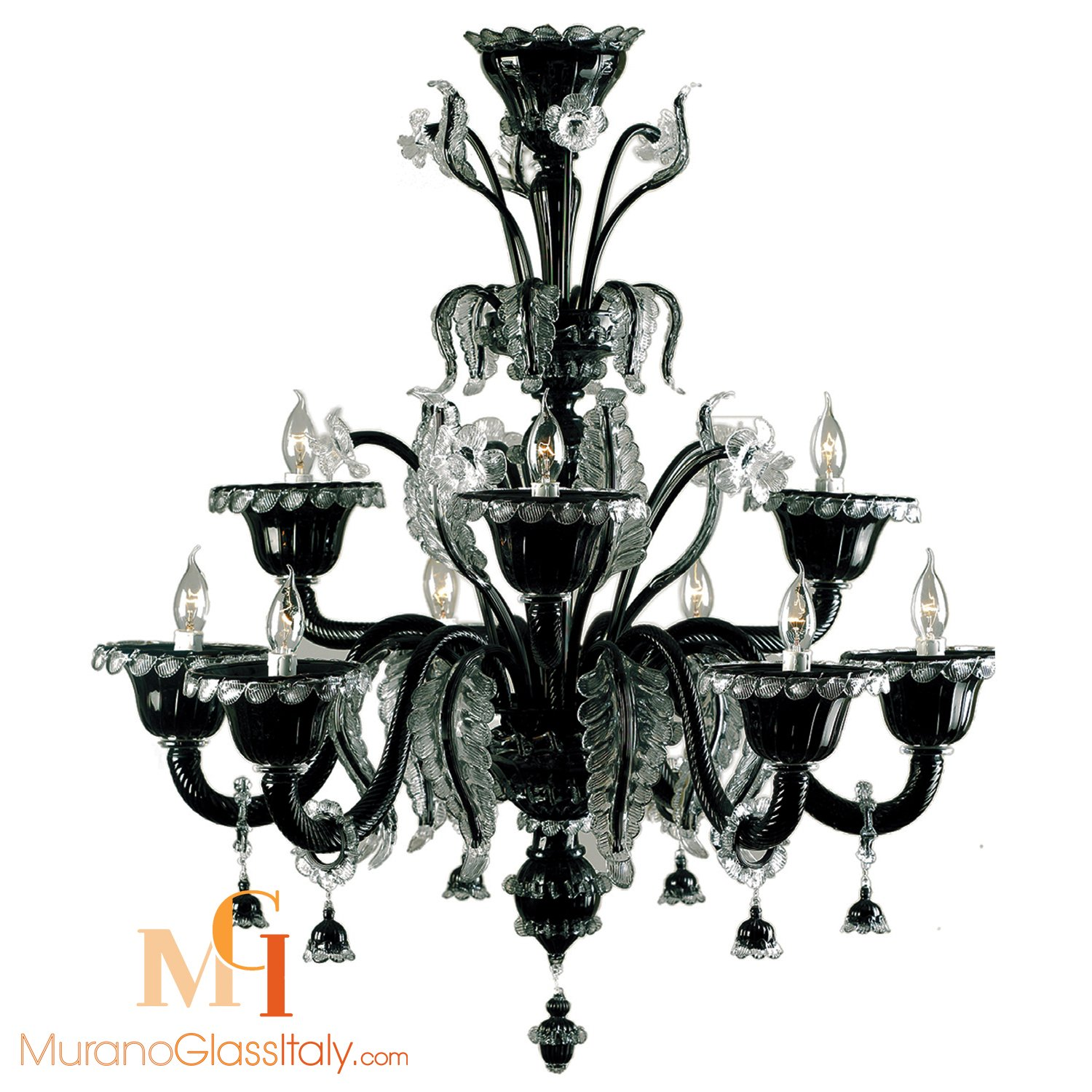 black murano glass chandelier