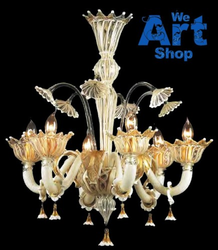 White & Gold – Murano Glass Chandelier