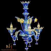 blue murano glass chandelier