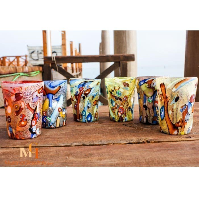 murano water glasses