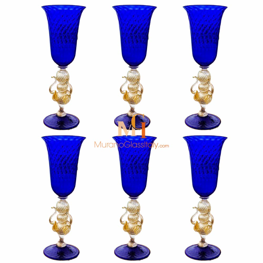 Glass Goblet Blue