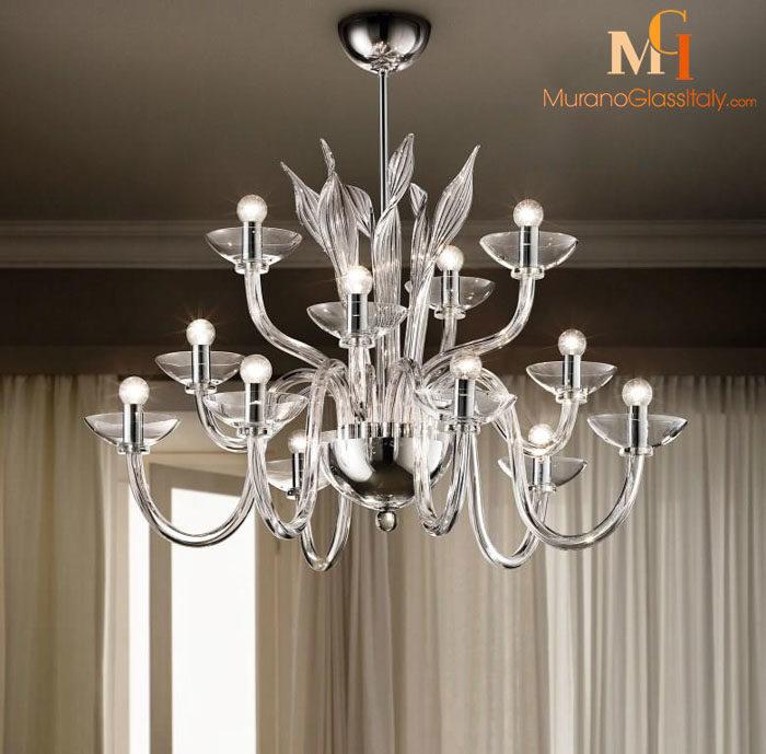 clear murano glass chandelier