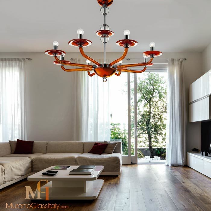 red glass chandelier
