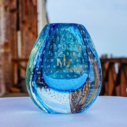 murano blue glass vase