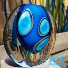 murano blue glass vase