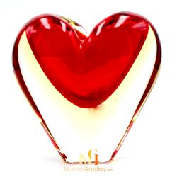 red blown glass vase