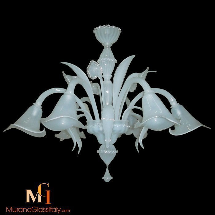white glass chandelier