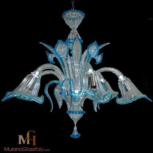 light blue glass chandelier