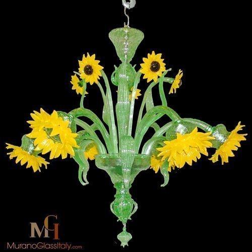 green murano chandelier