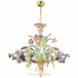 green murano glass chandelier