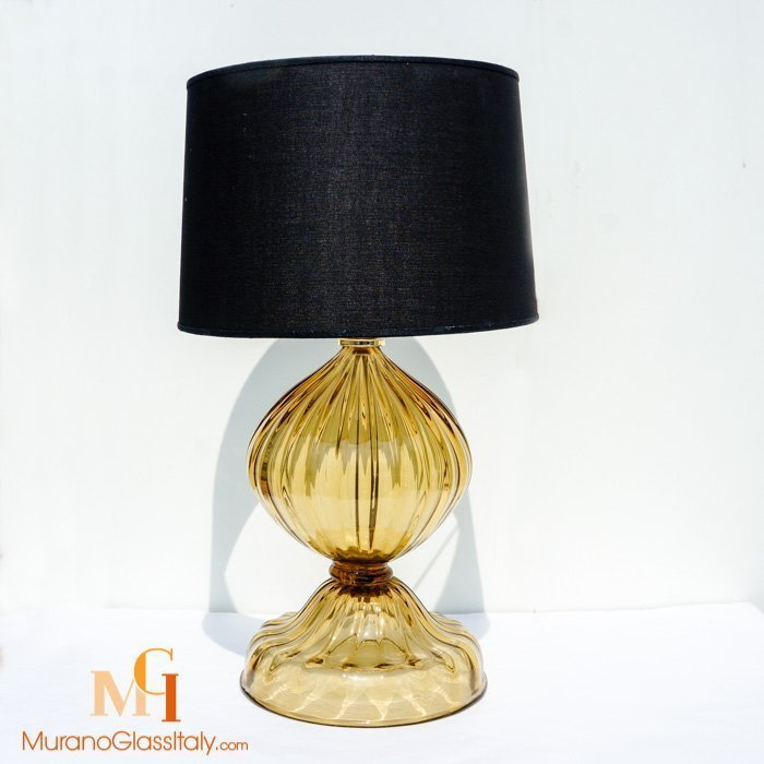 Modern Amber Murano Crystal Glass Table Lamp