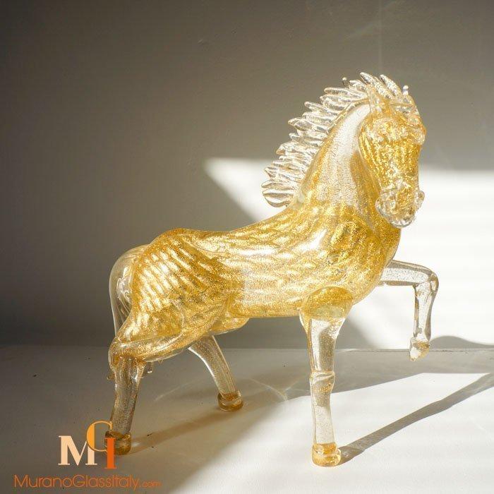 Venetian Crystal Glass Horse Sculpture With 24 Karat Gold