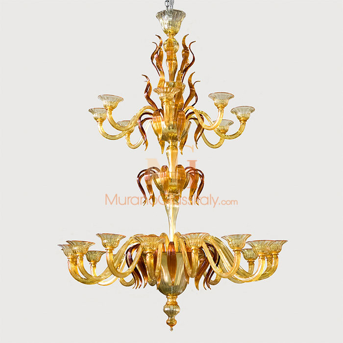 large glass chandeliers