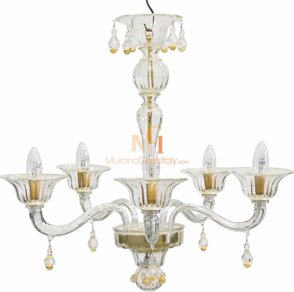 Elegant Clear Crystal Glass Chandelier with 24 Karat Gold