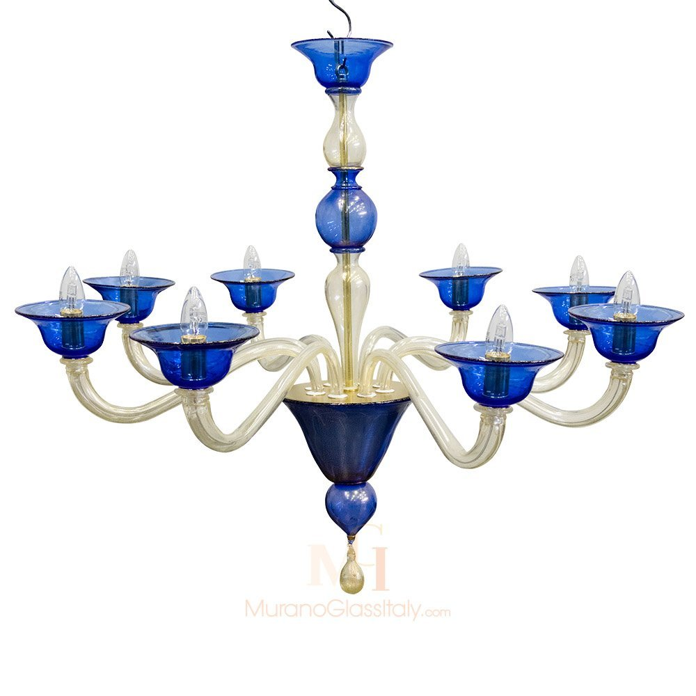 Modern Blue Murano Crystal Glass Chandeleir with 24 Karat Gold