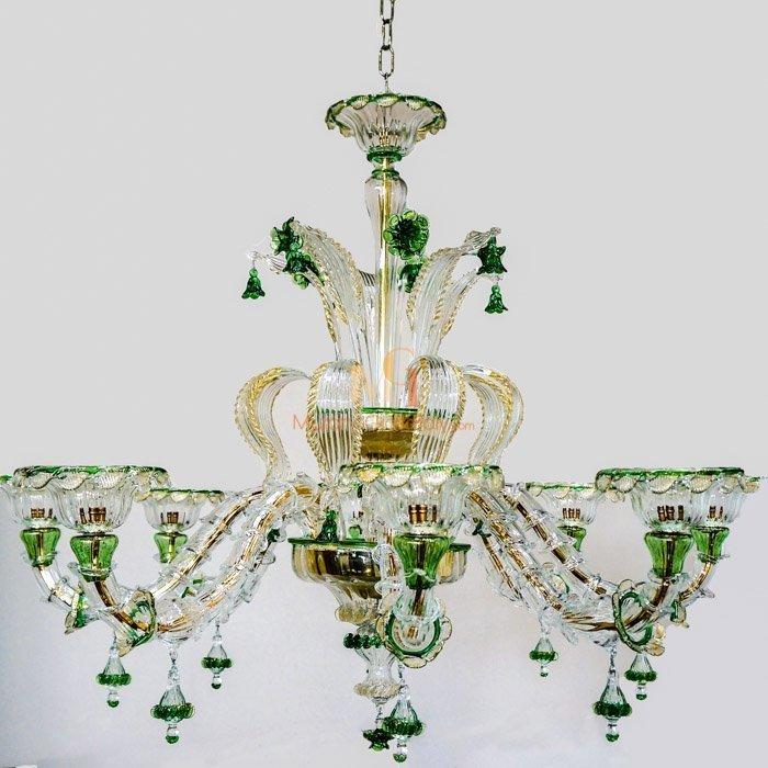 Luxury Murano Crystal Glass Chandelier with 24 Karat Gold