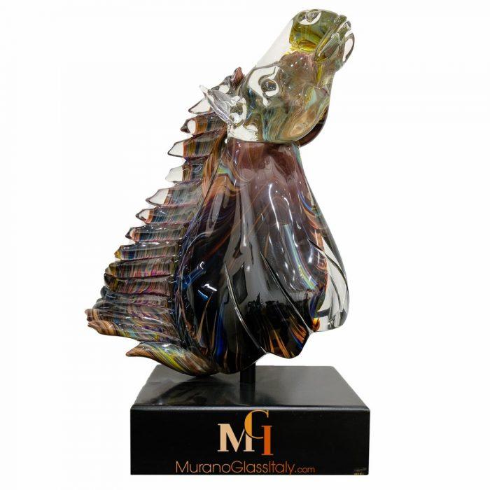 glass horse head sculpture
