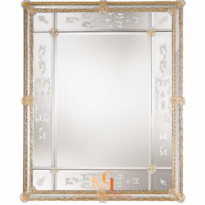 miroir design doré