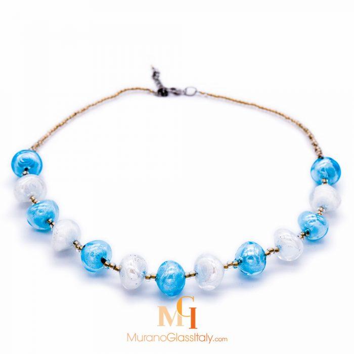 collier murano bleu