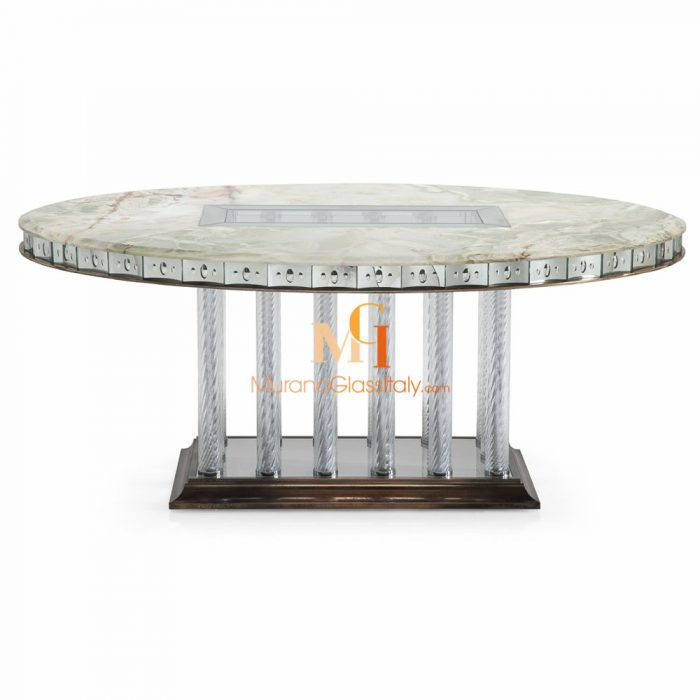 luxury glass dining table