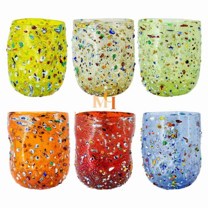 multi colored water glasses
