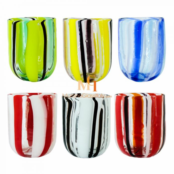 striped drinking glasses